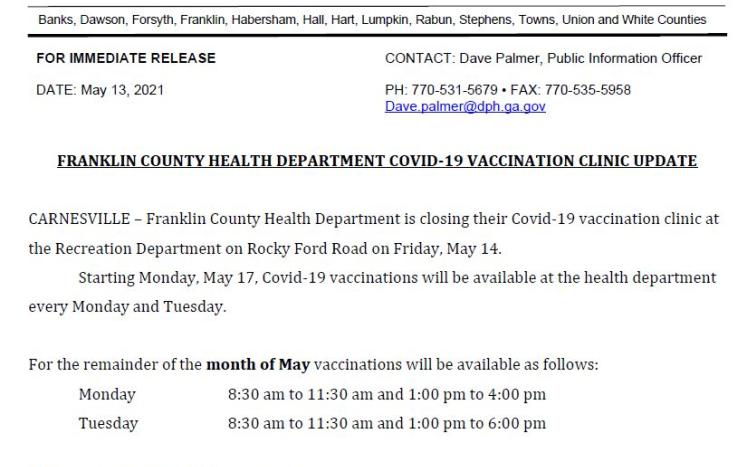 Franklin County Vaccine Clinic May & June